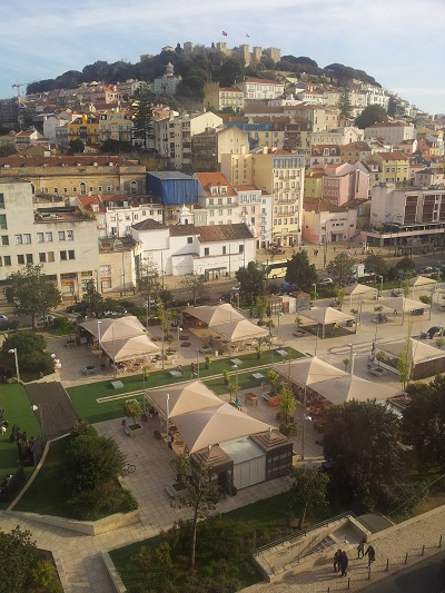 Lisbon O TOPO rooftop bar restaurant view Martim Moniz Castle St George