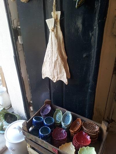 Lisbon Armazem Caldas Feira da Ladra lovely ceramics hanging codfish