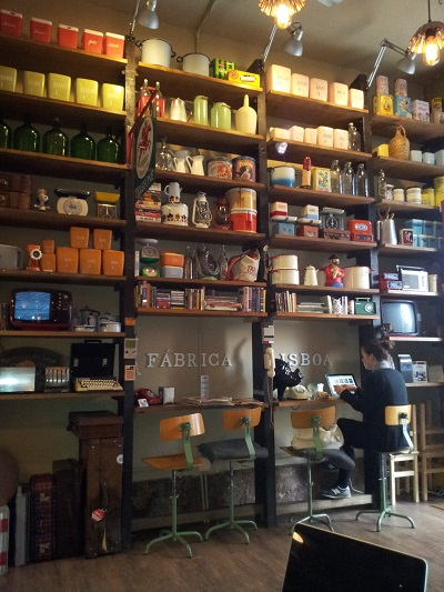 Bakery Fabrica Lisboa Lisbon Rua da Madalena wall with vintage and penis
